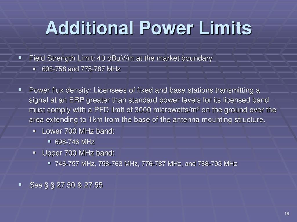 Additional Power Limits