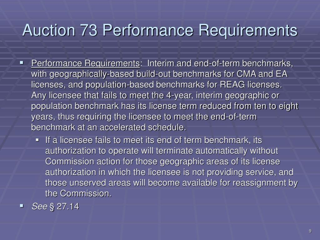 Auction 73 Performance Requirements
