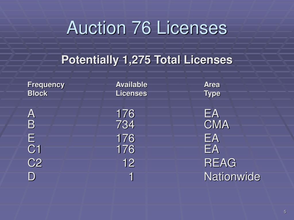 Auction 76 Licenses