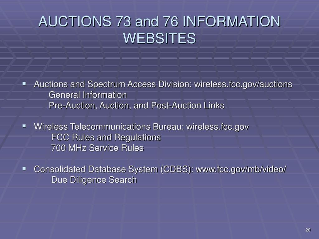 AUCTIONS 73 and 76 INFORMATION WEBSITES