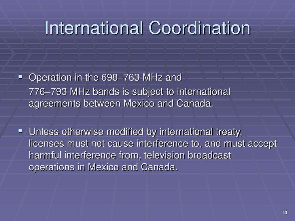 International Coordination