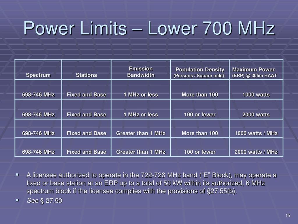 Power Limits – Lower 700 MHz