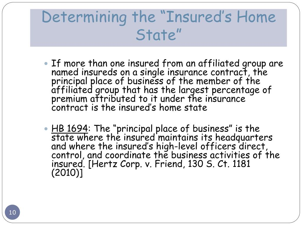 "Determining the ""Insured's Home State"""