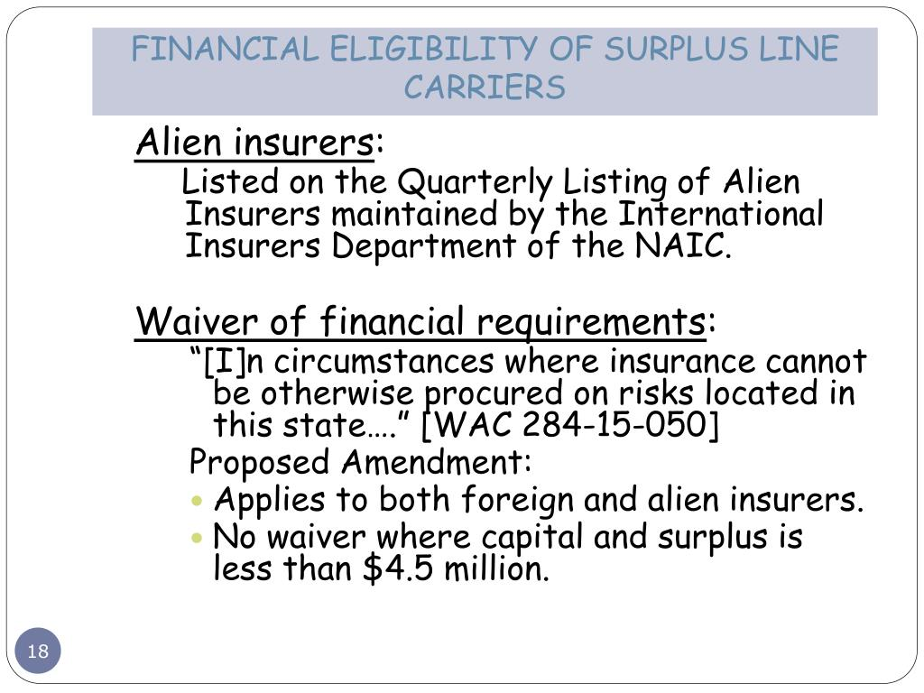 FINANCIAL ELIGIBILITY OF SURPLUS LINE CARRIERS