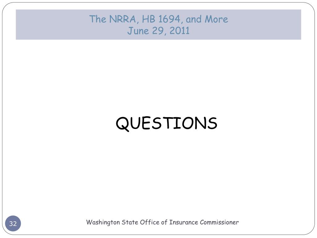The NRRA, HB 1694, and More