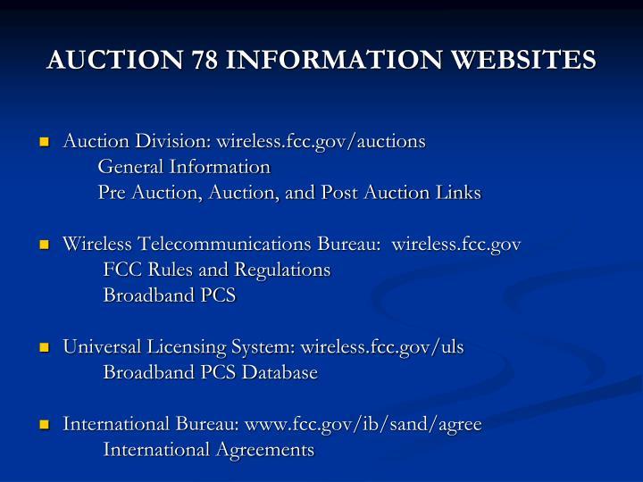 AUCTION 78 INFORMATION WEBSITES