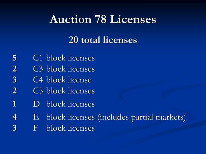 Auction 78 Licenses