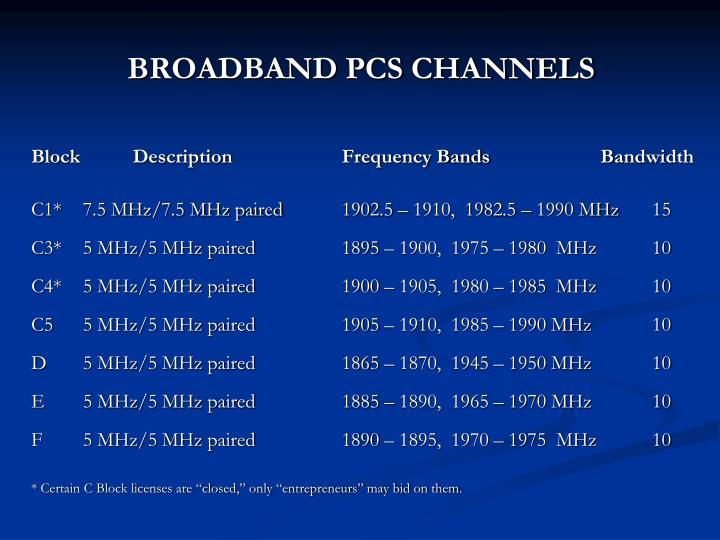 BROADBAND PCS CHANNELS