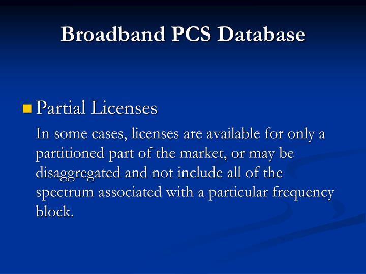 Broadband PCS Database