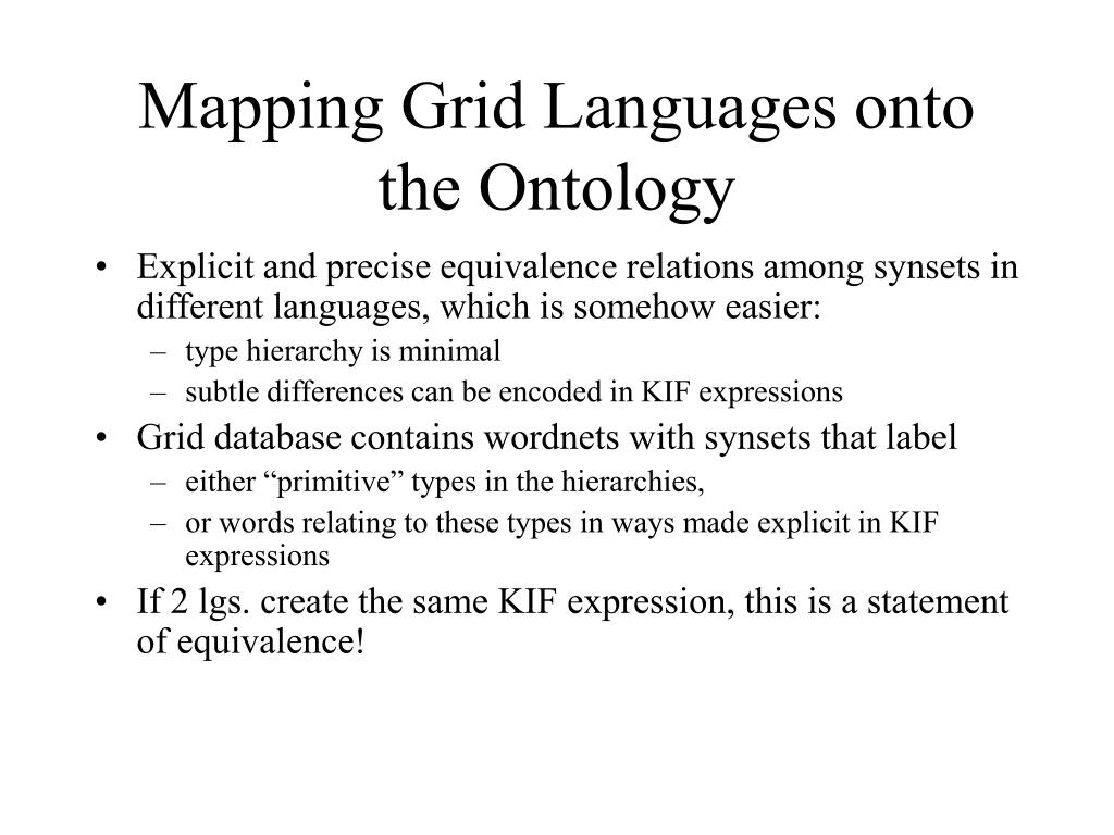 Mapping Grid Languages onto the Ontology