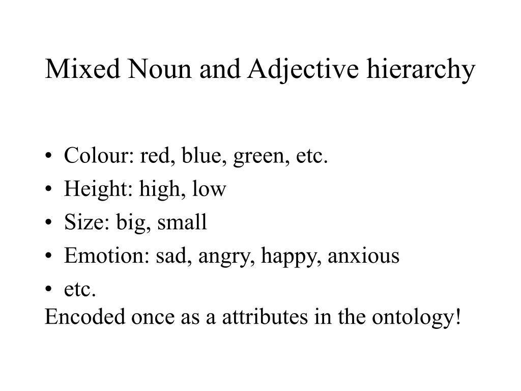 Mixed Noun and Adjective hierarchy