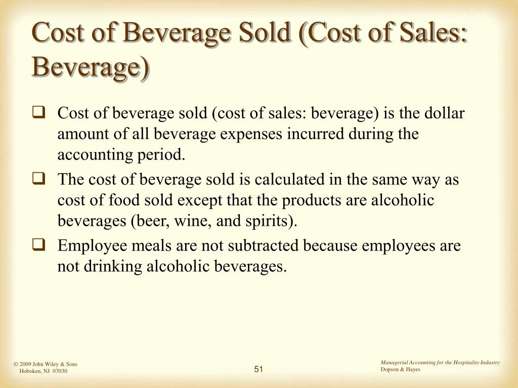Cost of Beverage Sold (Cost of Sales: Beverage)
