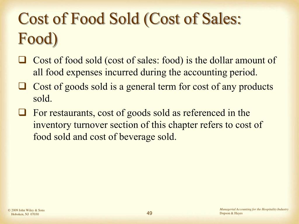 Cost of Food Sold (Cost of Sales: Food)