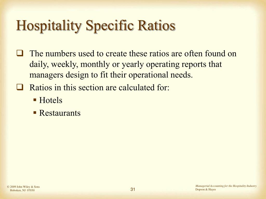 Hospitality Specific Ratios
