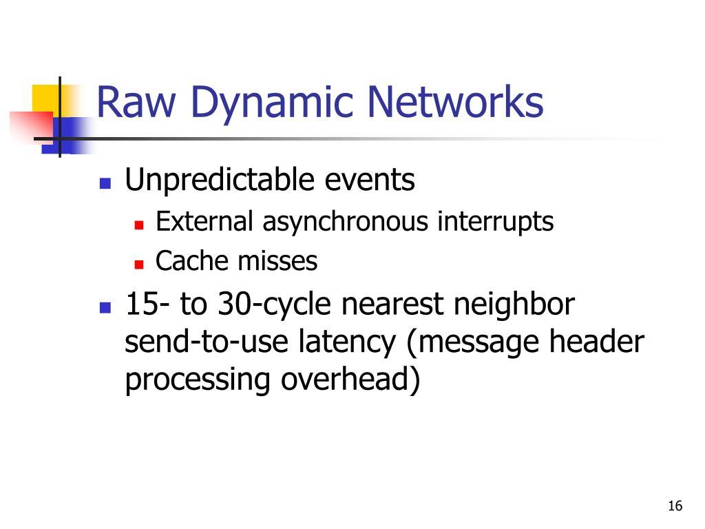Raw Dynamic Networks