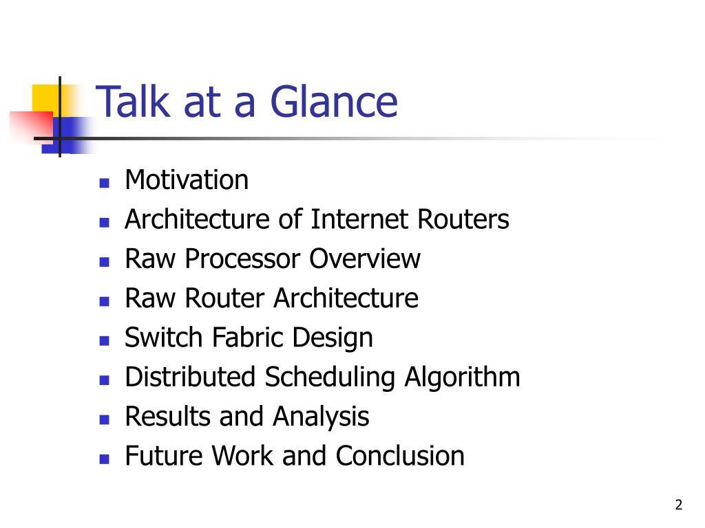 Talk at a Glance