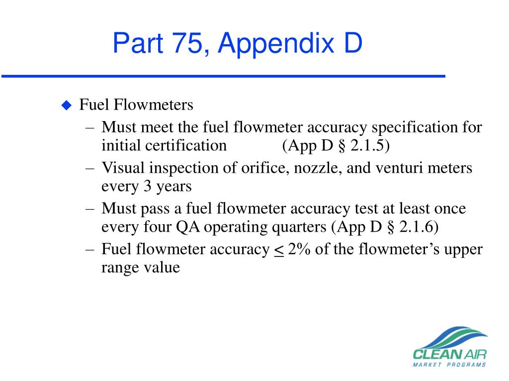 Part 75, Appendix D