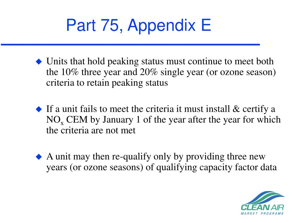 Part 75, Appendix E