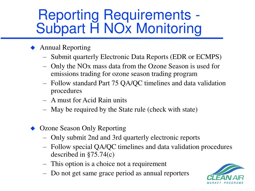 Reporting Requirements -