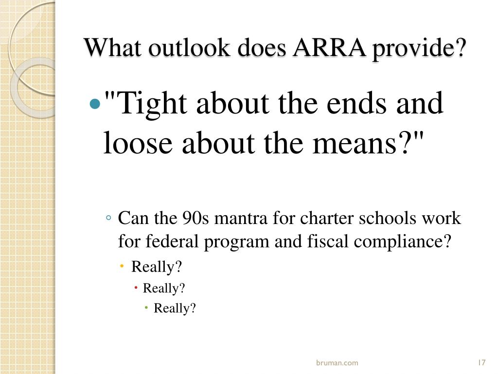 What outlook does ARRA provide?