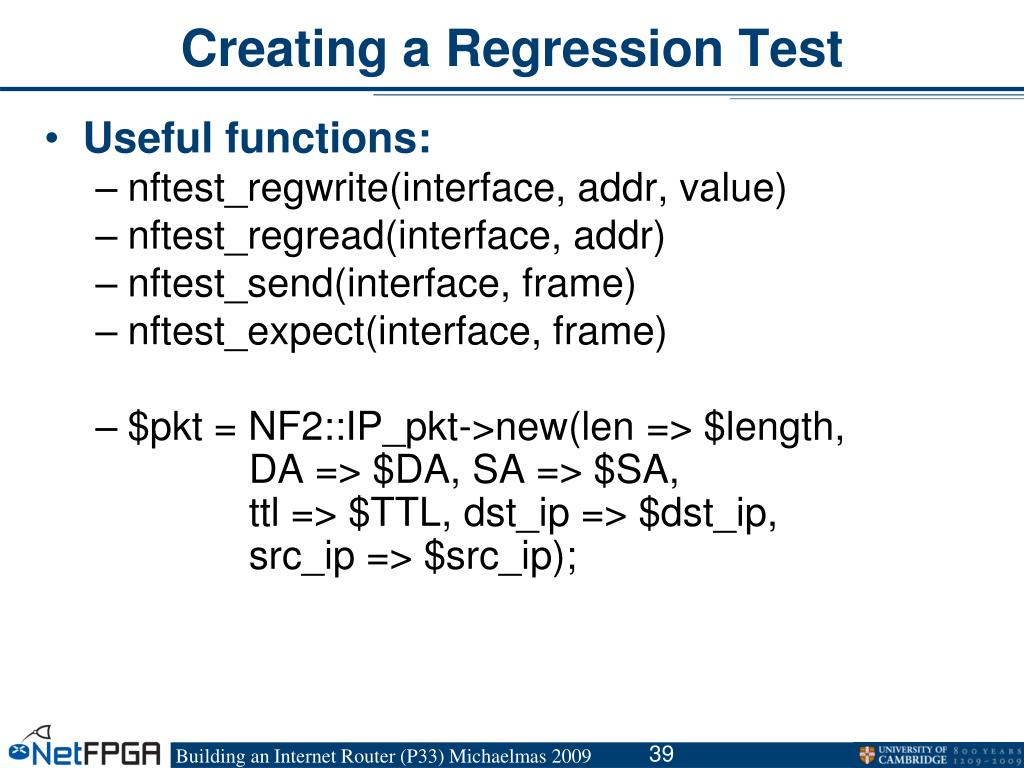 Creating a Regression Test