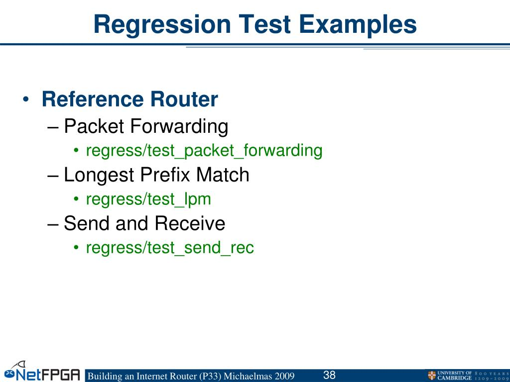 Regression Test Examples