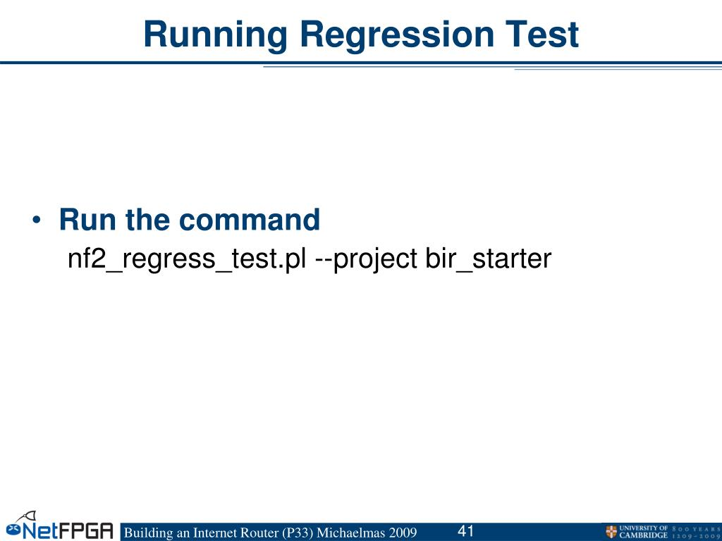 Running Regression Test