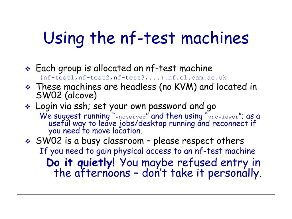 Using the nf-test machines