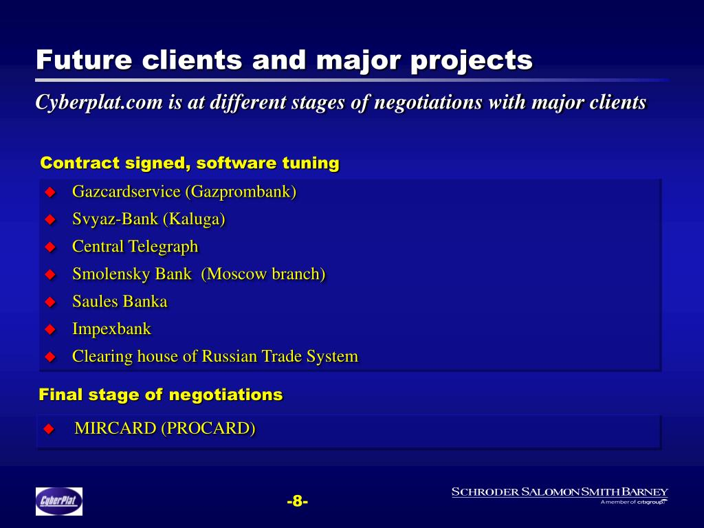 Future clients and major projects