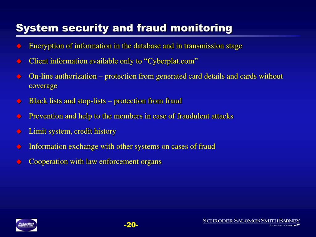 System security and fraud monitoring