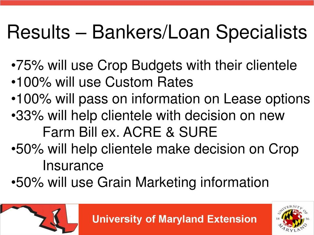 Results – Bankers/Loan Specialists