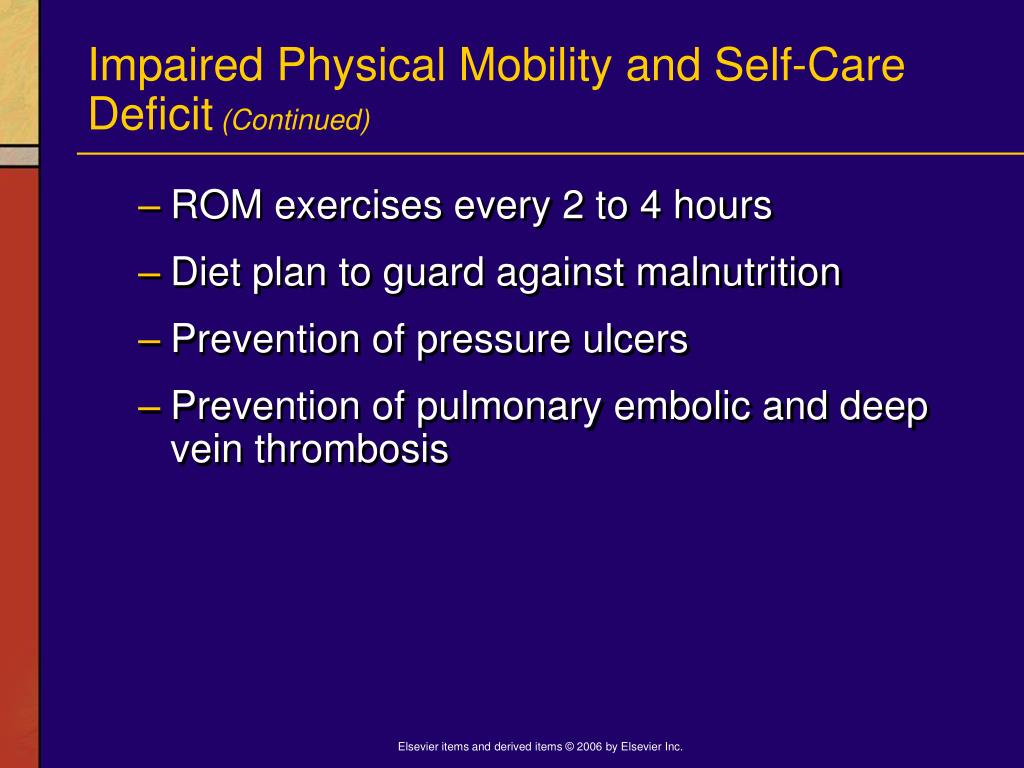 Impaired Physical Mobility and Self-Care Deficit