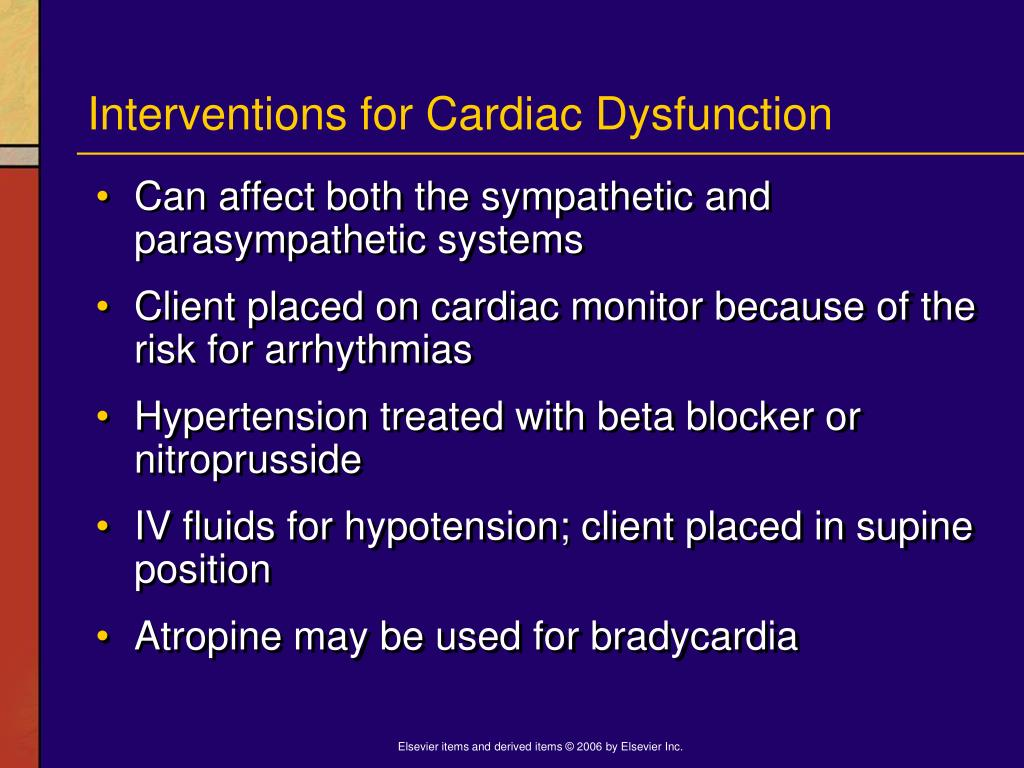 Interventions for Cardiac Dysfunction