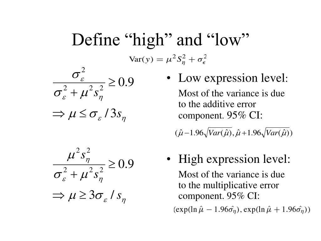 """Define """"high"""" and """"low"""""""