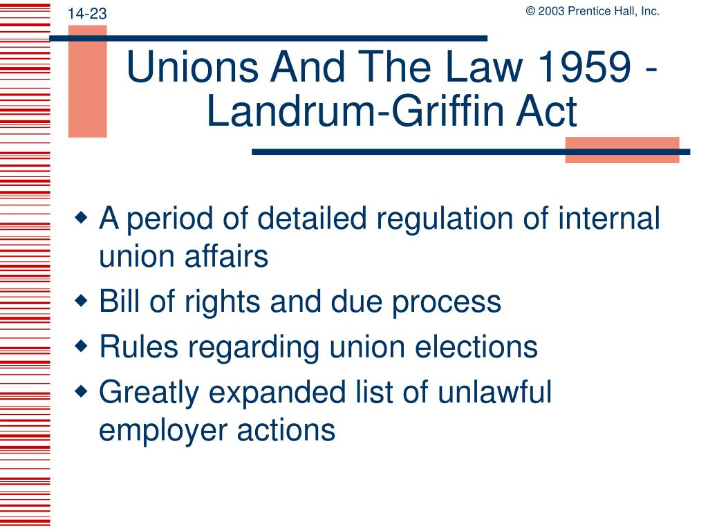 Unions And The Law 1959 - Landrum-Griffin Act