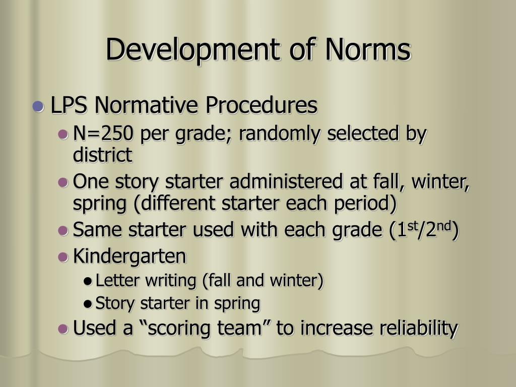 Development of Norms