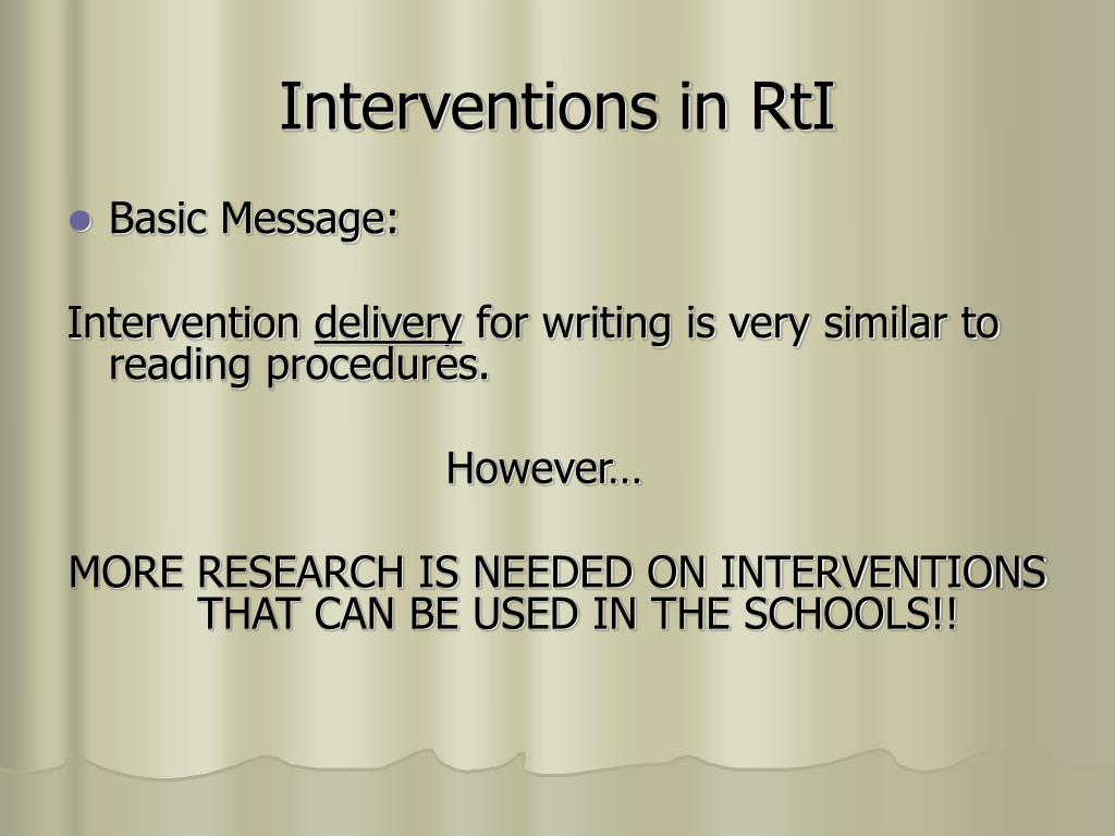 Interventions in RtI