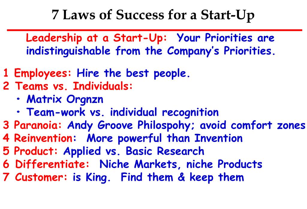 7 Laws of Success for a Start-Up