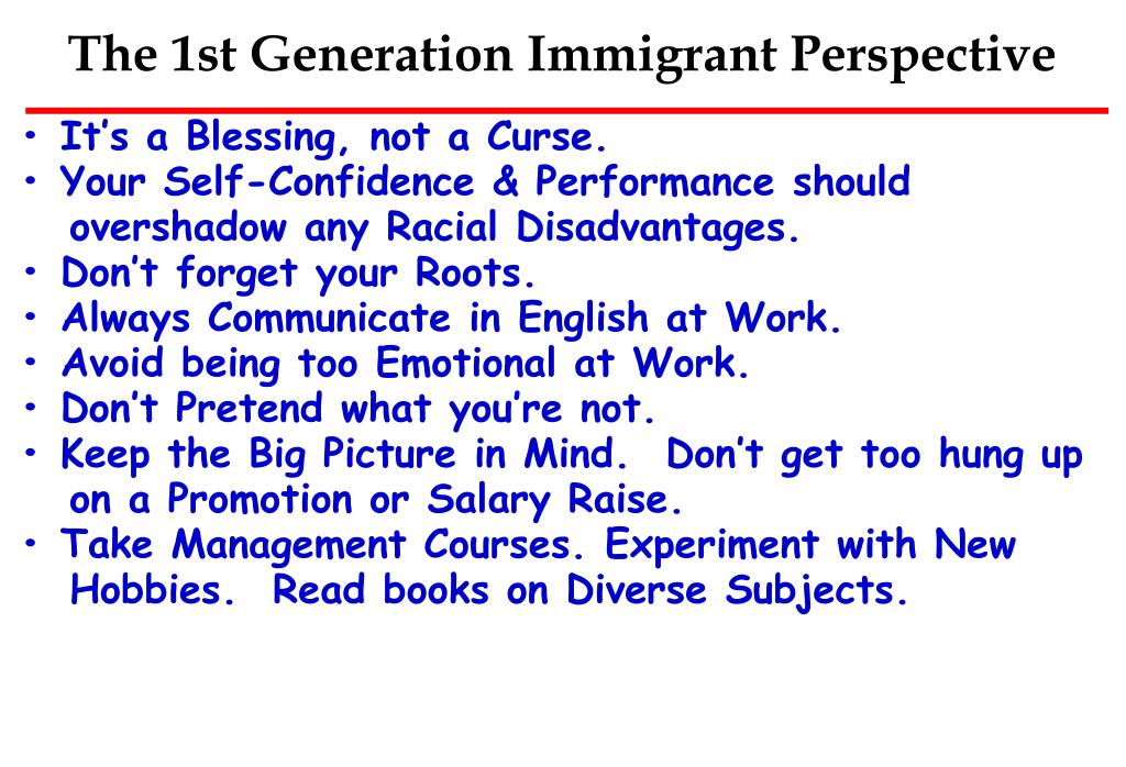 The 1st Generation Immigrant Perspective