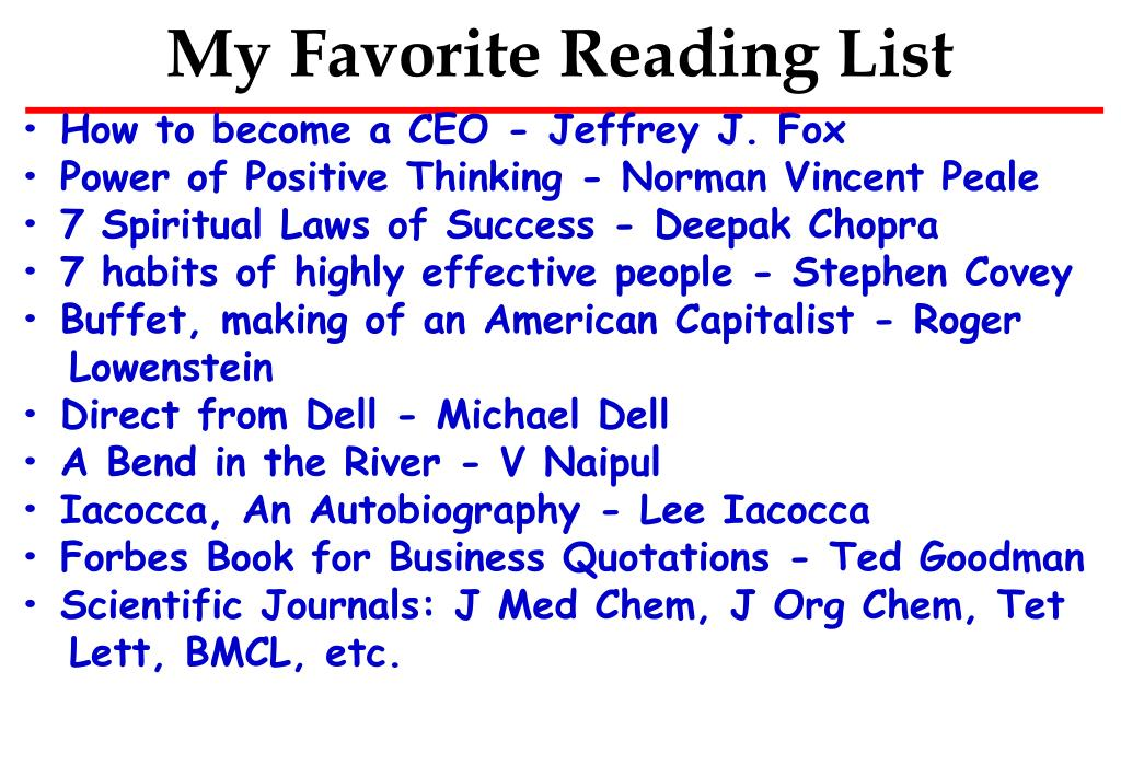 My Favorite Reading List