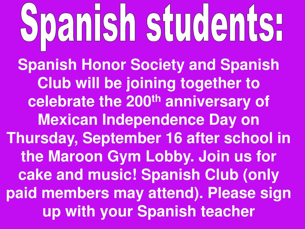 Spanish students: