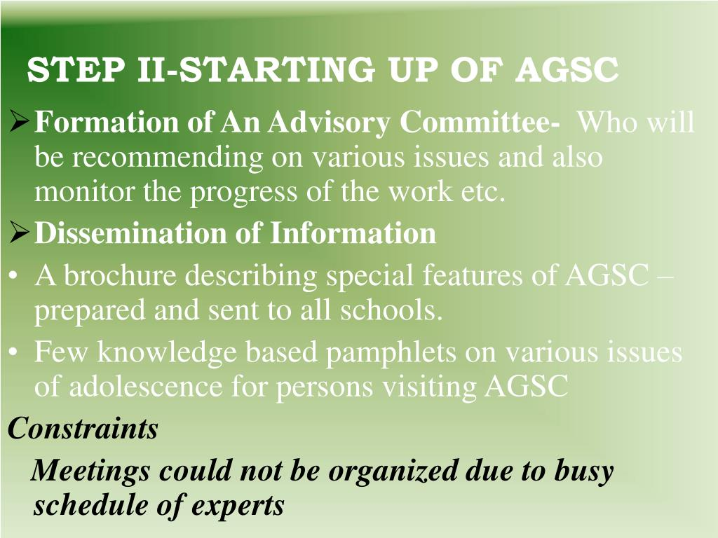 STEP II-STARTING UP OF AGSC