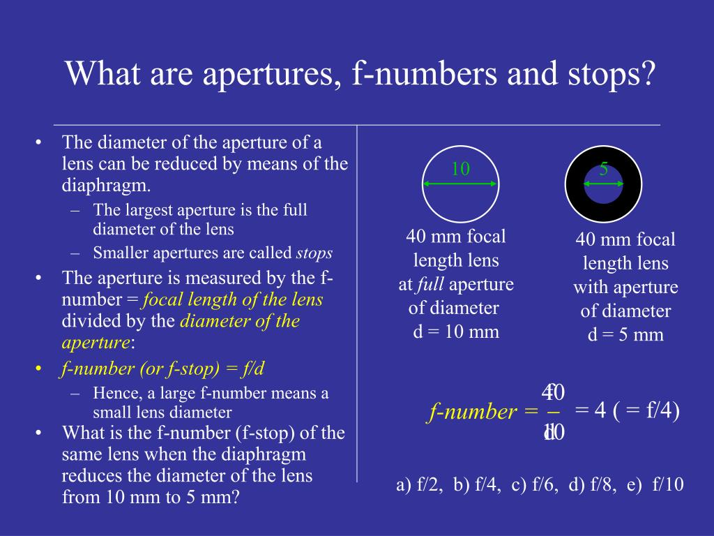 The diameter of the aperture of a lens can be reduced by means of the diaphragm.