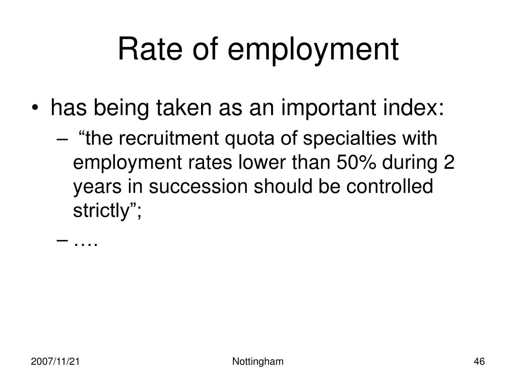 Rate of employment