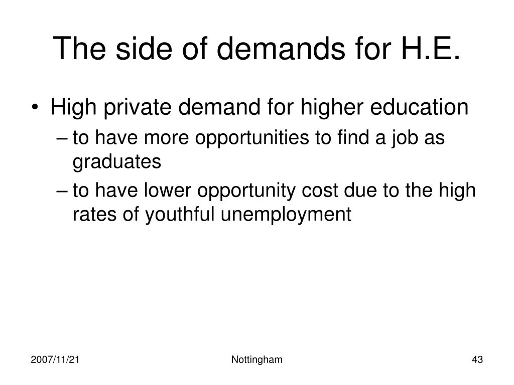 The side of demands for H.E.