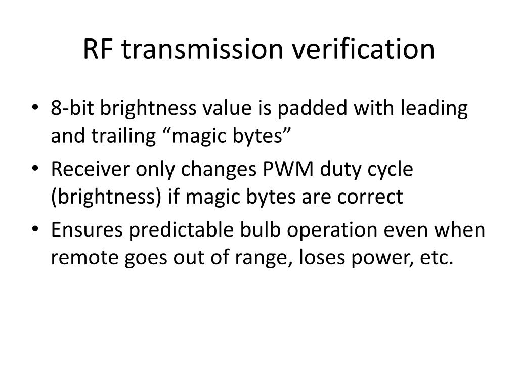 RF transmission verification