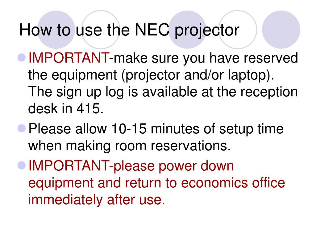 How to use the NEC projector