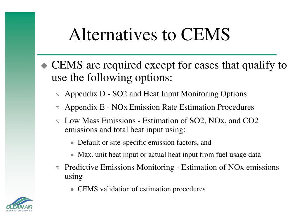 Alternatives to CEMS