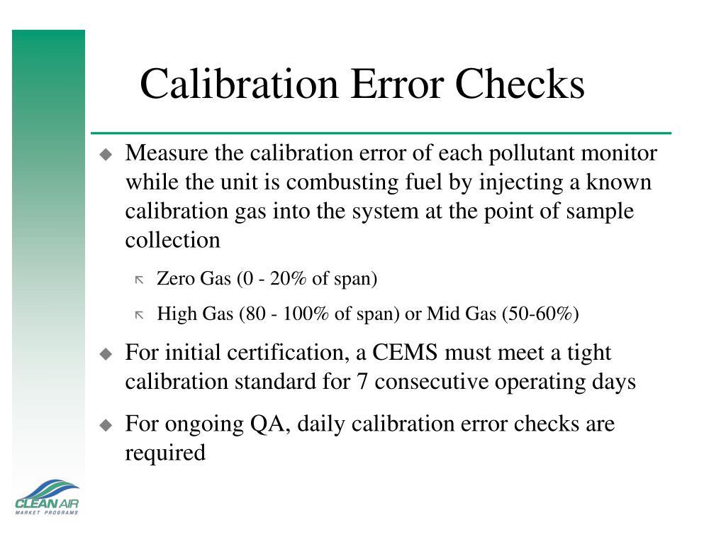 Calibration Error Checks