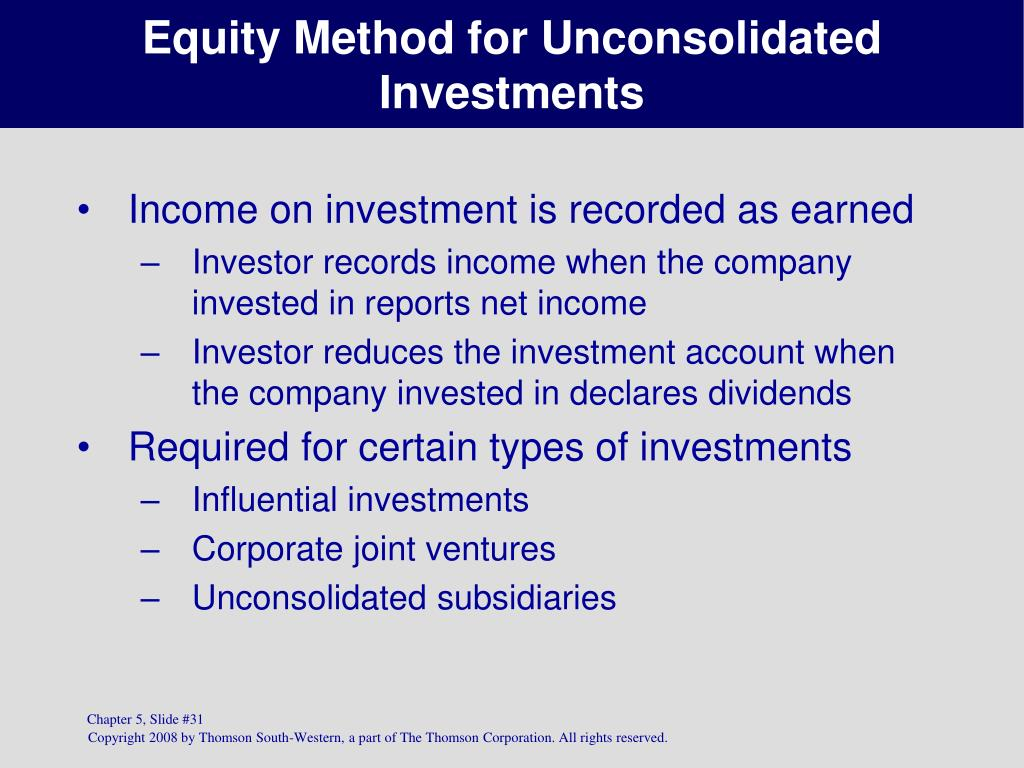 Equity Method for Unconsolidated Investments